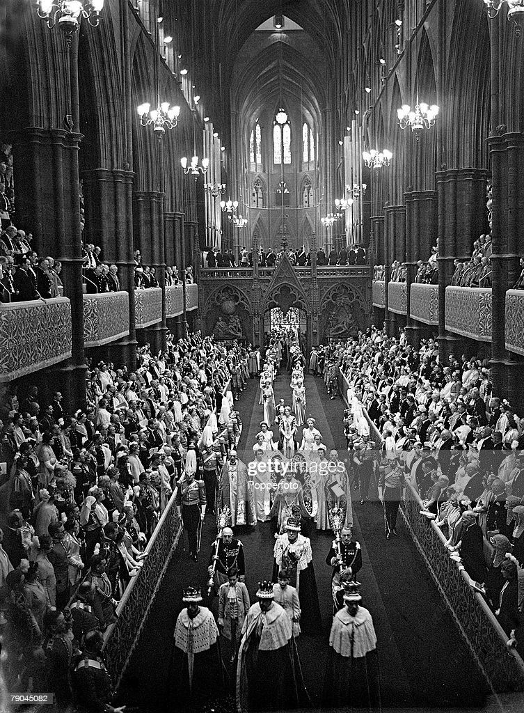 British Royalty, London, England, 12th May 1937, The Coronation of King George VI and Queen Elizabeth in Westminster Abbey, The scene shows Queen Elizabeth leaving the Abbey after the Coronation