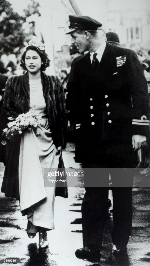 British Royalty. London, England. 26th October 1946. Princess Elizabeth (now the Queen) and Prince Philip of Greece, (later The Duke of Edinburgh) act as Bridesmaid and usher at the wedding of Patricia Mountbatten & Lord Brabourne. : News Photo