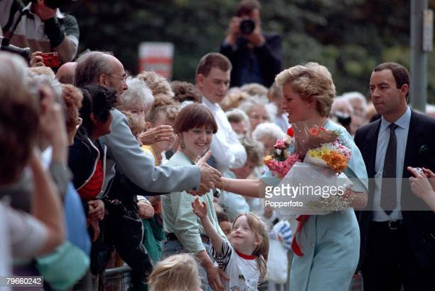 British Royalty London England 3rd July 1990 HRH Diana The Princess of Wales pictured meeting the public at Edmonton