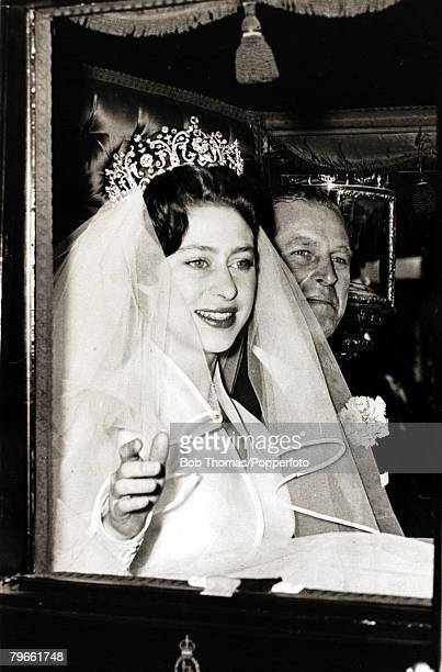 British Royalty, London, England, 6th May 1960, H,R,H,Princess Margaret leaves for Westminster Abbey, accompanied by her father The Duke of...