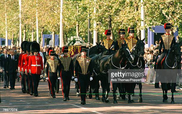 British Royalty London England 7th September 1997 The funeral of Princess Diana The funeral cortege moves down The Mall towards Westminster Abbey