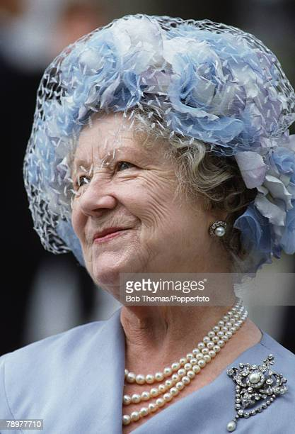 British Royalty London England July 1982 The Queen Mother wearing a light blue coat and hat visiting St Katherines Dock