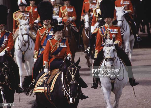 British Royalty London England June1983 Queen Elizabeth II on horse back during the Trooping of the Colour ceremony