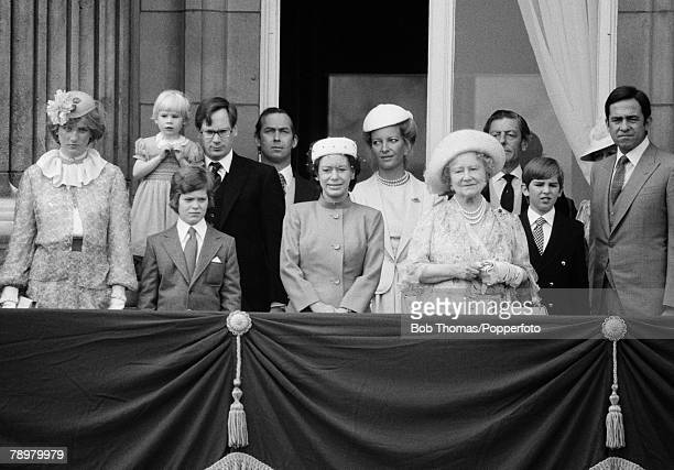 British Royalty London England Members of the Royal Family on the balcony of Buckingham Palace during the Trooping of the Colour cermony Members...