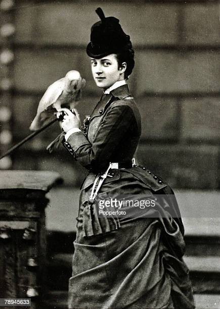 circa 1870's HRHThe Princess of Wales pictured with a favourite parrot