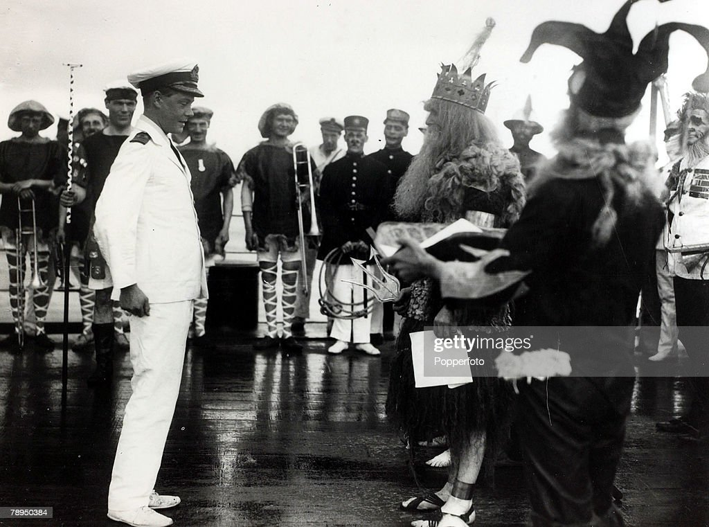 """British Royalty. pic: 12th June 1920. HRH.Edward, Prince of Wales pictured on HMS """"Renown"""" at a crossing the line ceremony as the ship passes the Equator en-route to Australia and New Zealand. The Prince of Wales (1894-1972) was to become King Edward VIII : News Photo"""