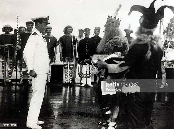 12th June 1920 HRHEdward Prince of Wales pictured on HMS Renown at a crossing the line ceremony as the ship passes the Equator enroute to Australia...
