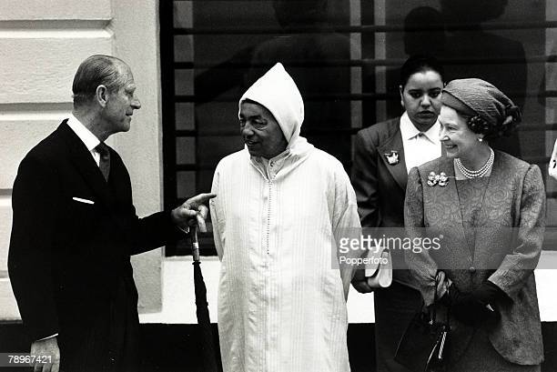 14th July 1987, HM Queen Elizabeth II and the Duke of Edinburgh welcome King Hassan of Morocco to London as he arrives for a 3 day state visit