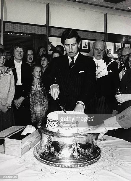 14th November 1978 HRH Prince Charles Prince of Wales pictured cutting a cake to celebrate his 30th birthday