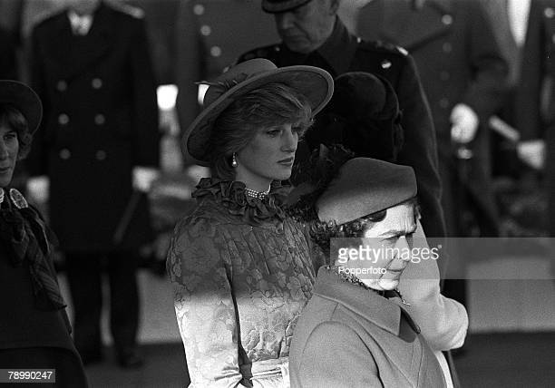 16th November 1982 The Princess of Wales pictured in London with HMThe Queen as they wait the arrival of the Dutch Royal Family for an official visit