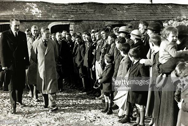 18th November 1936 HRHKing Edward VIII pictured with farm workers and their families at Boverton Glamorgan on his tour of the depressed areas of...