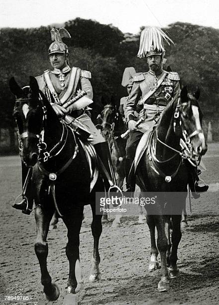 1913 HM King George V right out riding with the German KaiserWilhelm II at Potsdam
