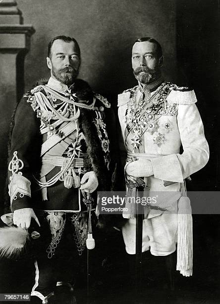 1913 HMKing George V right wearing a German uniform pictured with his cousin Tsar Nicholas II in Berlin where they were attending the wedding of the...