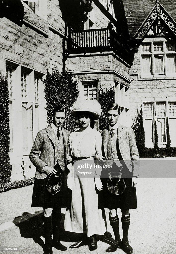 1913, Three members of the Royal Family at Balmoral, l-r