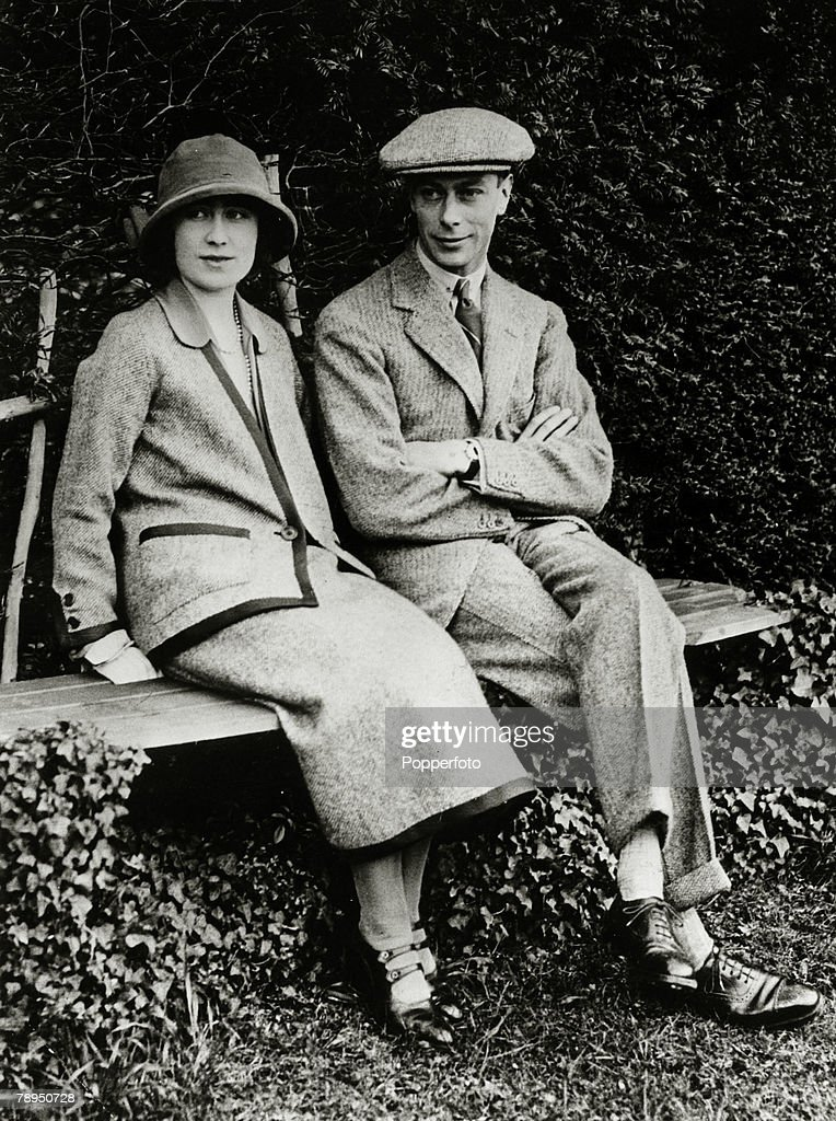 1923, HRH, The Duke and Duchess of York pictured at Polesden Lacey during their honeymoon, The Duke of York was to become King George VI, on the abdication of King Edward VIII, and reigned 1936-1952, with Elizabeth as his Queen Consort