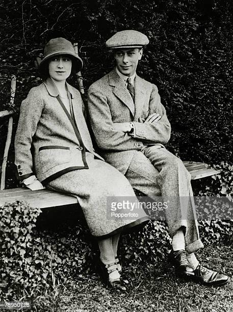 1923 HRH The Duke and Duchess of York pictured at Polesden Lacey during their honeymoon The Duke of York was to become King George VI on the...