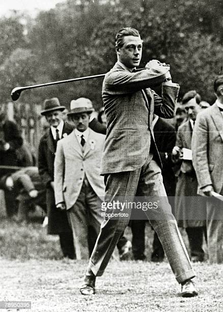 Edward, Prince of Wales, opens the Richmond Golf Club in Surrey by driving the first ball, The Prince of Wales was to become King Edward VIII for a...