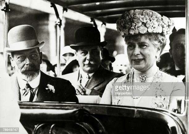 1925 HM King George V with the his Consort Queen Mary pictured when they attended the Wembley exhibition of 1925 King George V reigned from 19101936