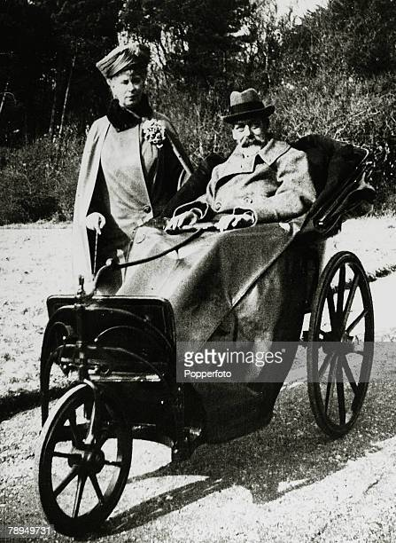 1928 HMKing George V and his Consort Queen Mary pictured together during the King's illness when he was having a period of convalescence at Craigwell...