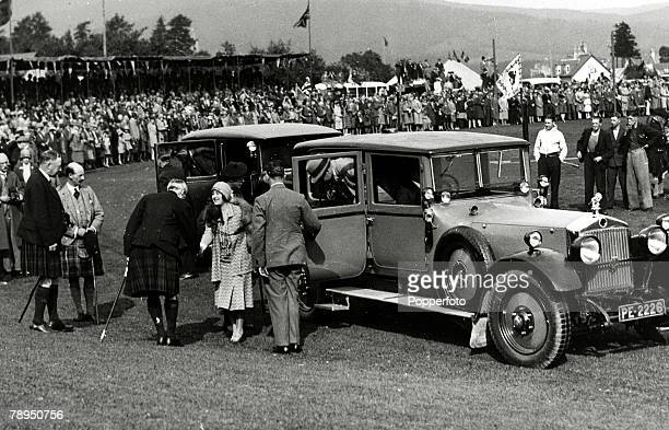 The Duchess of York arriving at the Braemar Gathering in Scotland, The Duchess of York, born Lady Elizabeth Bowes-Lyon, was Queen Consort to King...