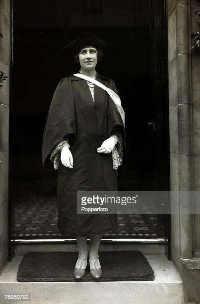 The Duchess of York at the entrance to St,Andrews University, Scotland after receiving the degree of LL,D, The Duchess of York, born Lady Elizabeth...