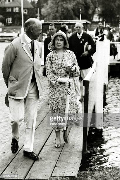 The Duchess of York arrives at Henley for the Royal Regatta, The Duchess of York, born Lady Elizabeth Bowes-Lyon, was Queen Consort to King George...