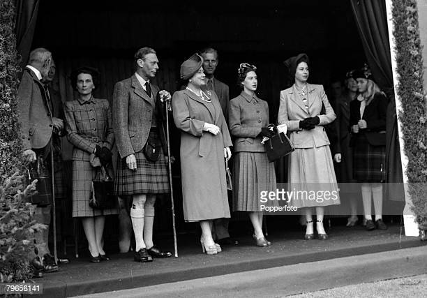 1949 Members of the Royal Family at the Braemar Games with centre lr King George VI Queen Elizabeth Duke of Edinburgh Princess Margaret and Princess...