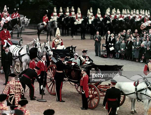 1953 HM Queen Elizabeth II accompanied by HRH Duke of Edinburgh receives the Keys of Edinburgh Castle at a presentation during the visit to Scotland