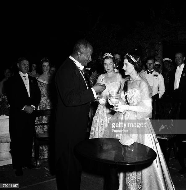 1955 Princess Margaret's Carribbean Tour to Grenada St Vincent and Barbados HRHPrincess Margaret at an evening reception at Government House Barbados...