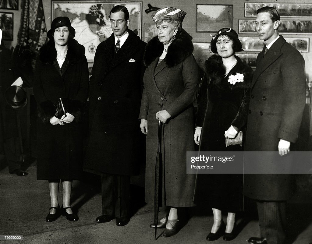 British Royalty, pic: 21st February 1933, Members of the Royal family at the British Industries Fair at Olympia, London, left-right, The Princess Royal, HRH,The Duke of Kent, HM,Quenn Mary, HRH,Duchess of York, HRH,The Duke of York : News Photo