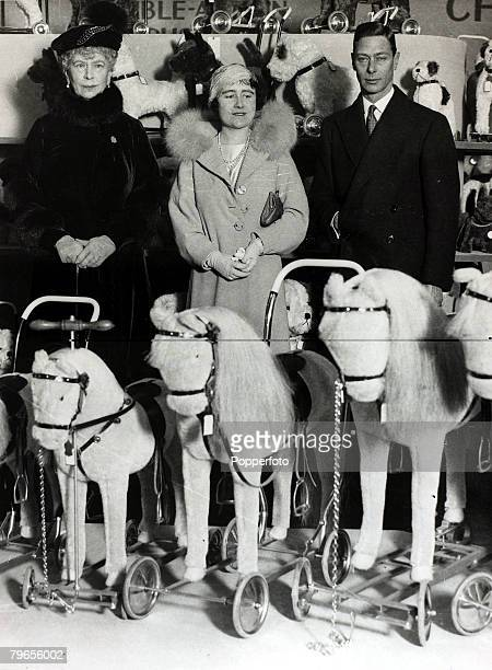21st February 1935,The Duke and Duchess of York pictured with HM,Queen Mary at the British Industries Fair, The Duke of York, became King George VI...