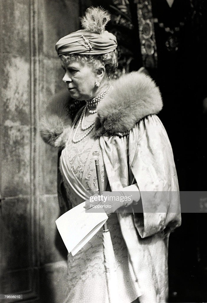 British Royalty, pic: 21st May 1937, HM,Queen Mary, pictured at the Royal Albert Hall after attending a coronation party for children, Queen Mary, (1867-1953) born Mary of Teck, was the Queen Consort of King George V : News Photo