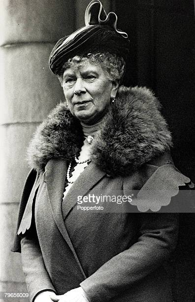 22nd October 1937 HMQueen Mary pictured at Deptford London where she opened the Rachel MacMillan training college Queen Mary born Mary of Teck was...