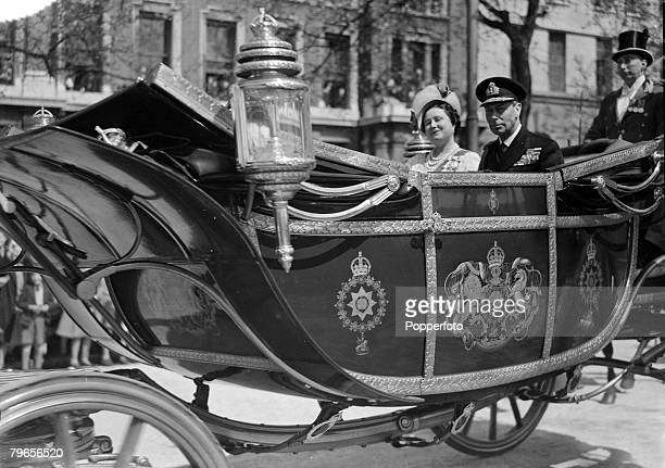 26th April 1948 King George VI and Queen Elizabeth in the State Landau after attending a Thanksgiving Service at St Paul's Cathedral commemorating...