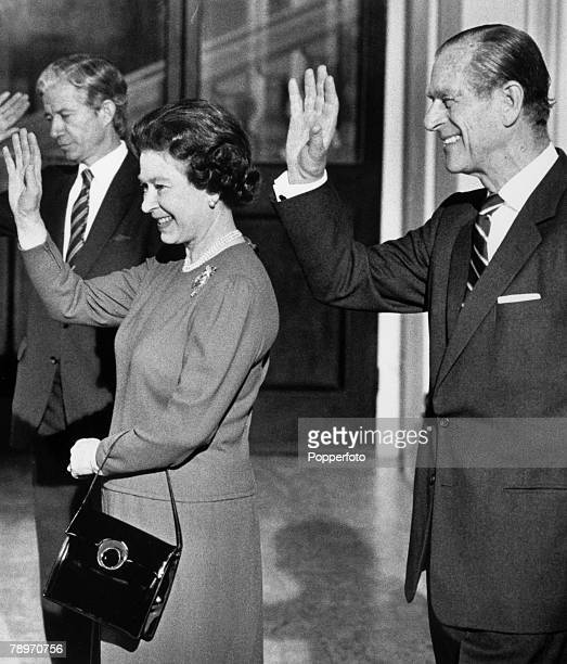 27th March 1987 London HM Queen Elizabeth with The Duke of Edinburgh wave goodbye to King Fahd of Saudi Arabia after the King had undertaken a four...