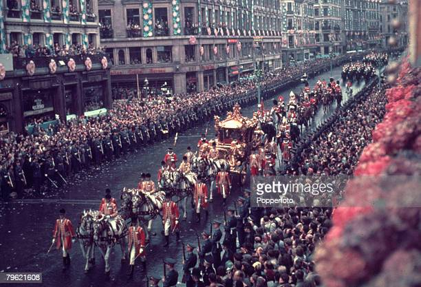 2nd June 1953 Coronation Day the Coronation of Queen Elizabeth II The Queen's coach in Regents Street London