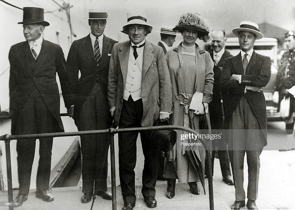 British Royalty. pic: 30th August 1927. HRH.Edward, Prince of Wales, right, pictured with amongst others the Duke of Kent, 2nd left, and British Prime Minister Stanley Baldwin at Canada's Diamond Jubilee celebrations in Toronto. The Prince of Wales (1894- : News Photo