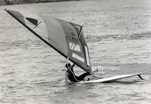 4th August 1980 HRH Prince of Wales pictured windsurfing off the Isle of Wight