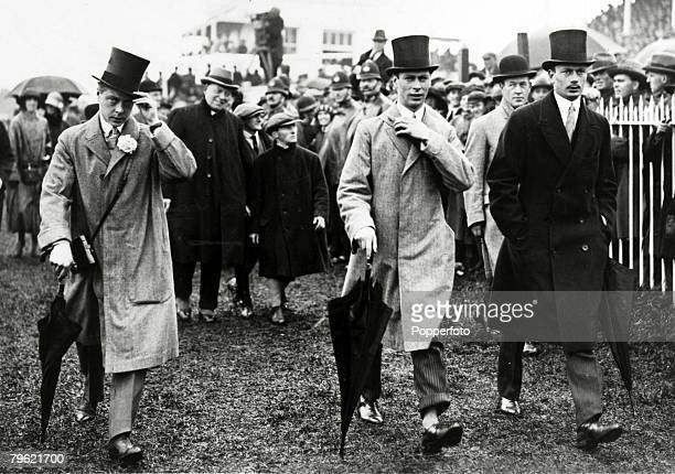 4th June 1924 HRHEdward Prince of Wales left pictured with Prince Albert Duke of York and Prince Henry at the Derby at Epsom The Prince of Wales was...