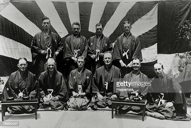 4th June 1924, HRH,Edward, Prince of Wales,, pictured on his tour of Japan, with Lord Louis Mountbatten, and others, all dressed in kimono's , The...
