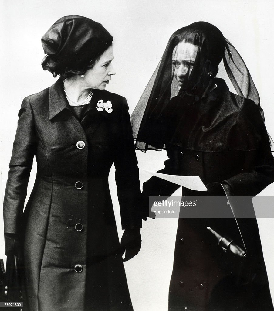 5th June 1972, London, HM, Queen Elizabeth chats with the Duchess of Windsor as they leave St, George's Chapel, Windsor after the funeral service for the Duke of Windsor