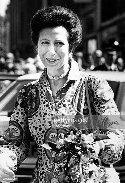 5th May 1989, Northampton, Northamptonshire, England, HRH Princess Anne the Princess Royal arrives at the Northampton Guildhall for a Save the...