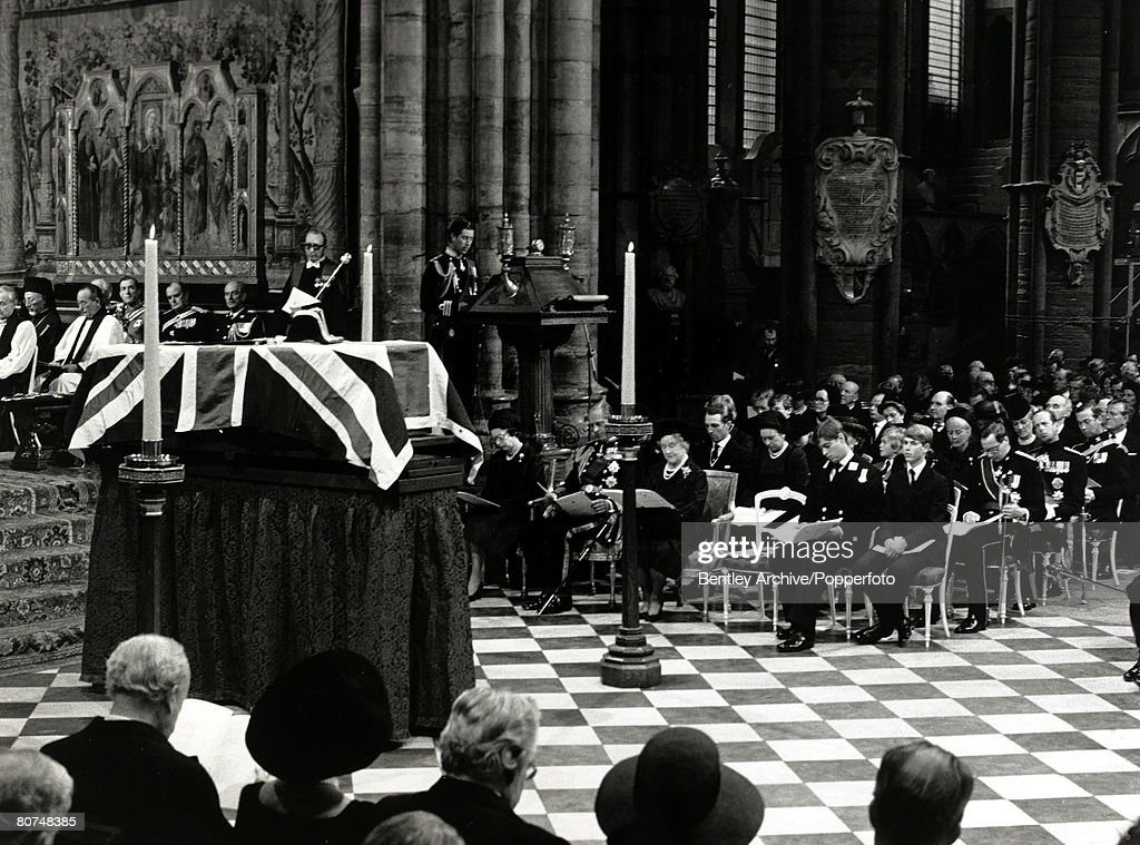 British Royalty pic: 5th September 1979. HRH Prince Charles reads a eulogy at the Westminster Abbey State funeral of Lord Mountbatten as members of the Royal Family look on. Lord Moutbatten had been murdered by IRA terrorists in Ireland. : News Photo