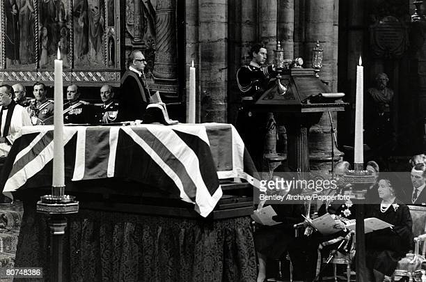 5th September 1979 HRH Prince Charles reads a eulogy at the Westminster Abbey State funeral of Lord Mountbatten as members of the Royal Family look...