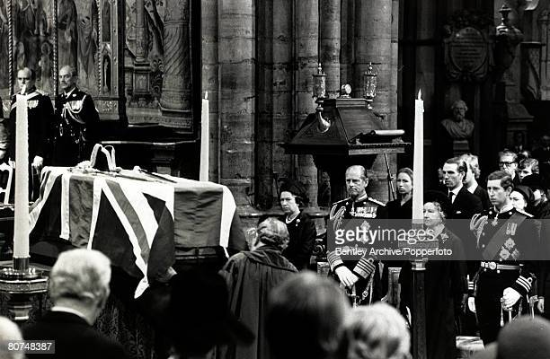 5th September 1979 The coffin of Lord Mountbatten at the Westminster Abbey State funeral as members of the Royal Family LR HM Queen Elizabeth II...