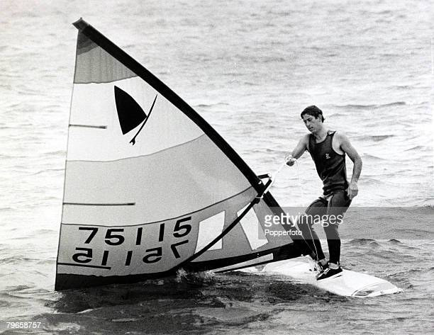 7th August 1979, HRH Prince Charles, Prince of Wales is pictured windsurfing at Cowes, Isle of Wight