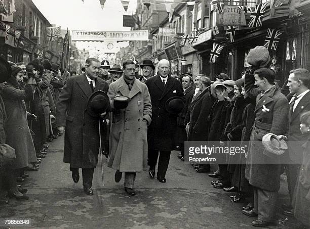 7th December 1932 HRH Edward The Prince of Wales pictured during his tour of South Wales as he visits the Rhondda and Ely valleys King Edward VIII...