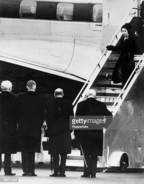 7th February 1952 London Airport HM Queen Elizabeth pale faced as she leaves the aircraft after returning from Kenya on the death of King George VI...