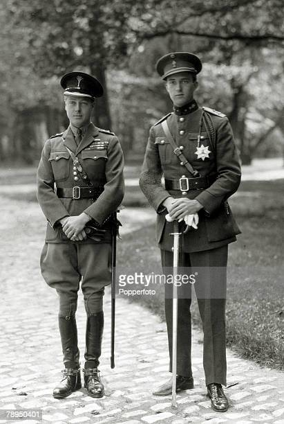 April 1923 HRHEdward Prince of Wales left pictured with Prince Leopold of Belgium some short time before the funeral of Belgium's King Albert The...
