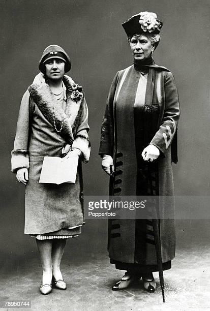 April 1928, HRH,The Duchess of York pictured with HM,Queen Mary, The Duchess of York, born Lady Elizabeth Bowes-Lyon, was Queen Consort to King...